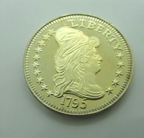 1795 US $5 Draped Bust Large Eagle .999 Fine Silver 18k Gold Plated Copy Coin