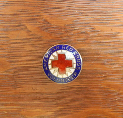 Vintage American Red Cross Voluteer Sterling Silver Enamel Pin
