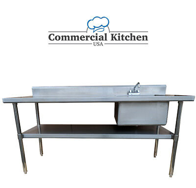 Stainless Steel Work Prep Table 30x60 W Sink On Right W Faucet Nsf Certified