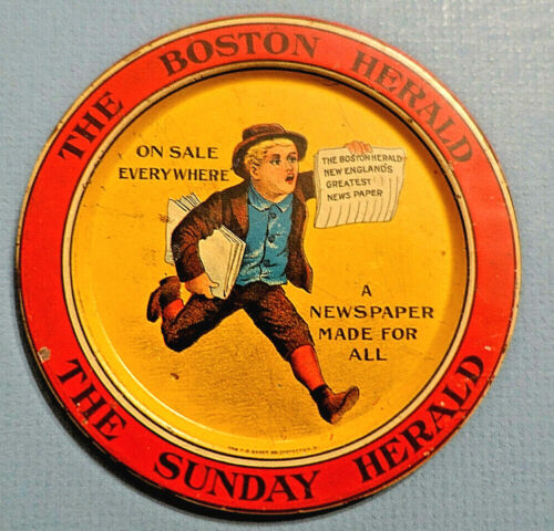 c.1900 The Boston Herald / The Sunday Herald METAL TIP TRAY, Great Graphics