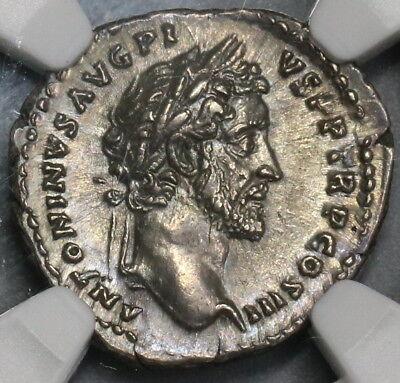 140/3 NGC Ch AU Antoninus Pius Roman Empire Denarius Genius Senate (18082706C) (Senator Roman)