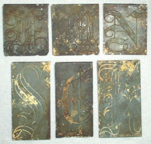 6 Engraved Fancy Letter Printing Dies, Beautifully Formed, From Central Virginia