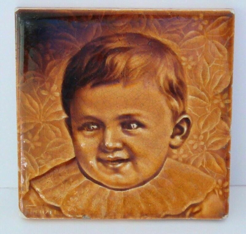 C Pardee Works Art  Tile In Relief Victorian Young Boy Infant Signed By Frenzel