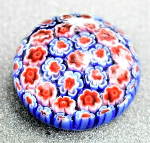 Vintage Glass Paperweight Colorful Swirl Design Round 1lb. Art Red Blue Colors