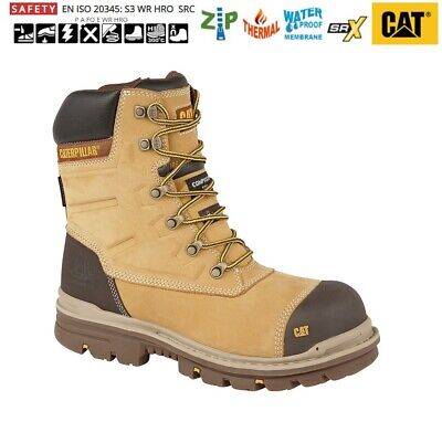 Mens Safety Work Boots Caterpillar Cat Leather Honey Combat Size 6 - 12 Uk