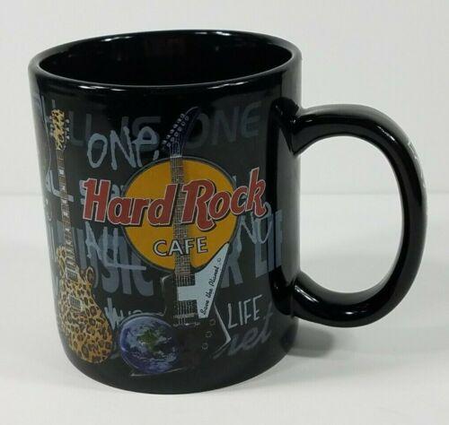 Hard Rock Cafe Las Vegas black guitars graffiti large oversized coffee cup mug