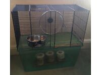 Savic gerbilarium/hamster cage with accessories. VGC.
