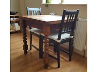 Solid wood extendable dining table - £30. Chairs & cushions included for free