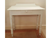 Antique White Painted Pine Side Console Table