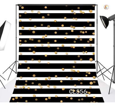 Black & White Striped Gold Dot 6X9FT Polyester Studio Backdrop Photo Background