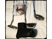 Bay Hill white magic IV putter, Petron 8 iron and Slazenger SFC7 driver plus balls + 2 covers