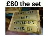 Retro brass toilet door signs