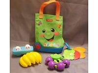 Fisher Price Shopping Tote, Musical Canvas Shopping Bag with Pretend Play Food