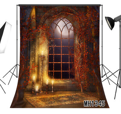 Halloween Moon Candles Arch Window Backdrop 5x7ft Vinyl Photography - Halloween Backgrounds Windows 7