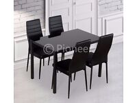 FREE FAST DELIVERY!! *** GLASS DINING TABLE SET WITH 4 FAUX LEATHER RIB CHAIRS BLACK FREE DELIVERY