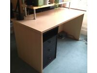 birch-veneer desk with black 3-drawer unit