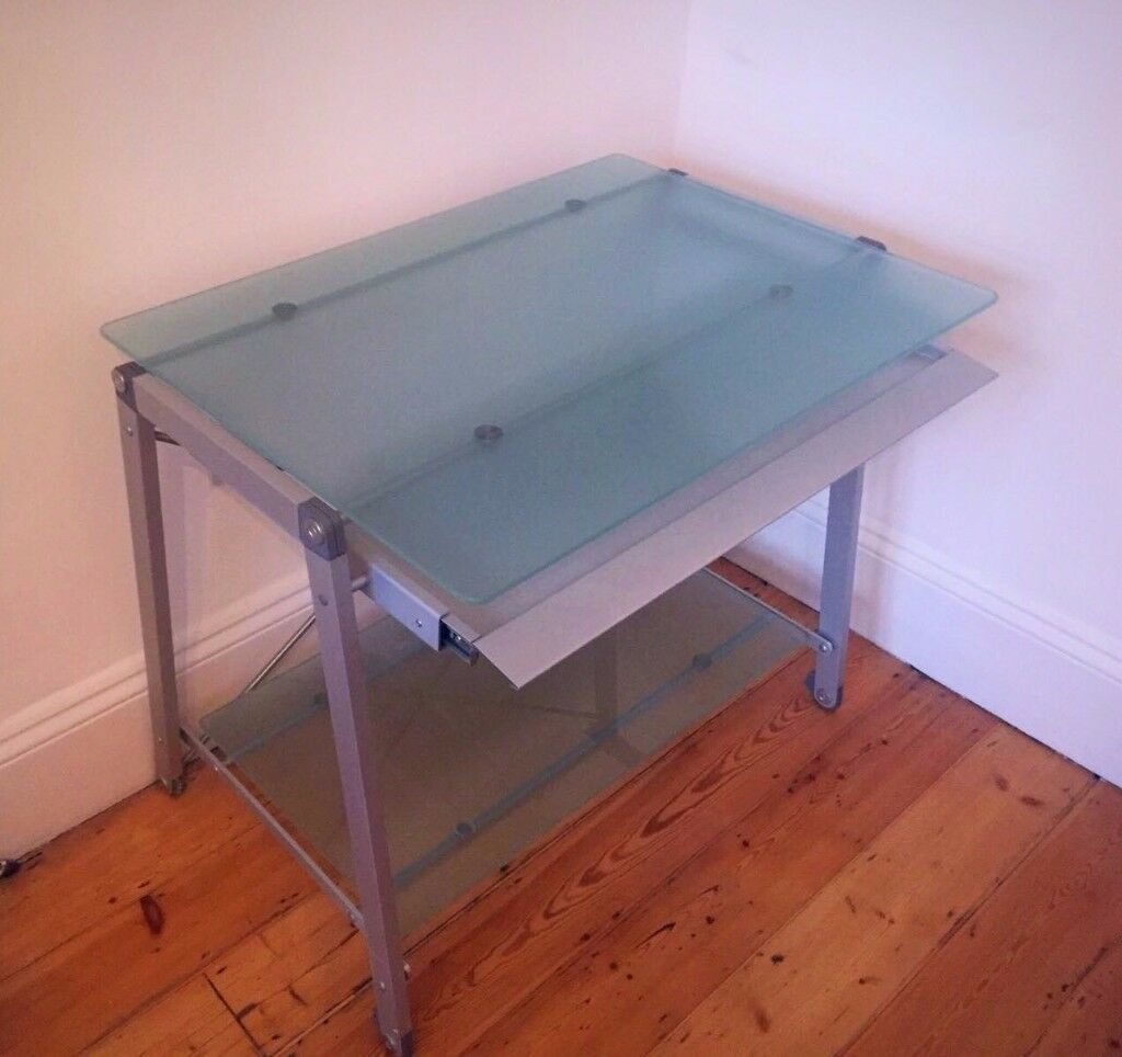 Design Desk - Glass and brushed Chrome. New condition.