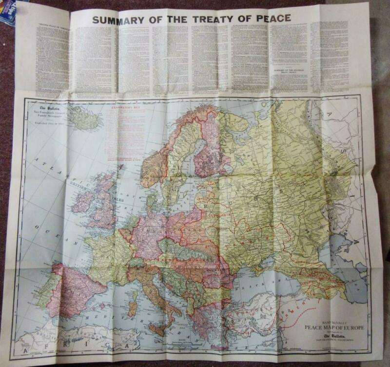 1914 WWI NEW MAP of EUROPE from SAN FRANCISCO Bulletin SUMMARY of WAR TREATY