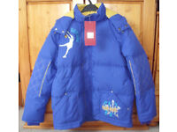 ** NEW ** with tags boy's Shenge blue,yellow padded hooded jacket.Size 160. Nice & cosy! £8 ovno
