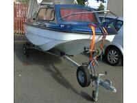 14 ft CRJ Cuddy boat with trailer 25hp and 5hp outboards