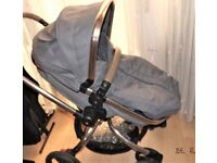 MOTHERCARE ORB ,PRAM / BUGGY ,IN GREY ,WITH LEATHER HANDLEBAR AND BUMPER BAR ,+ GREY FOOTMUFF