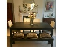Contemporary Extendable Dining Table (with chairs & bench)