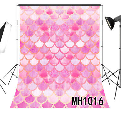 Pink Mermaid Fish Scales Design Vinyl Studio Backdrop Photo Background 5x7FT - Backdrop Design