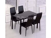 ✤✤BRAND NEW ✤✤BLACK GLASS DINING TABLE WITH 4 CHAIRS ONLY £149 - CALL NOW