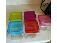 Multi Coloured Glass Storage Containers