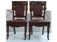 Antique Chair Restoration Project - Two Hardwood Leather Chairs (in Red) £35 (ono each)