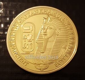 Tutankhamun Ancient Egypt Pyramid 24k Gold Plated Souvenir Collectable Coin Gift