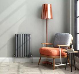 Designer grey horizontal radiator single oval bathroom heater