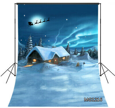 Winter Landscape Christmas Snowy Wood Hut Backdrop 5x7ft Vinyl Photo Background ()