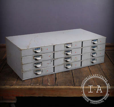Vintage Industrial 12 Drawer Lyon Parts Cabinet