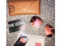 Pink/orange mirrored Ray-Ban Aviator Classic sunglasses