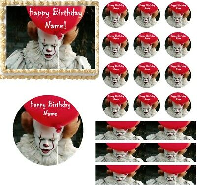 Creepy Scary Clown Edible Cake Topper Image Cupcakes Clown Cake Halloween - Halloween Scary Cupcakes