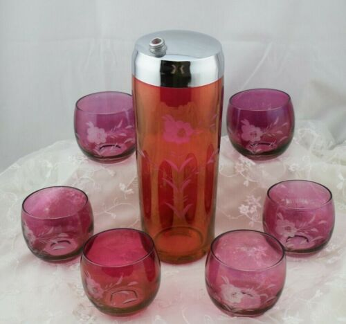 Vintage Martini Shaker and Glass Set Red Etched Glass 1950