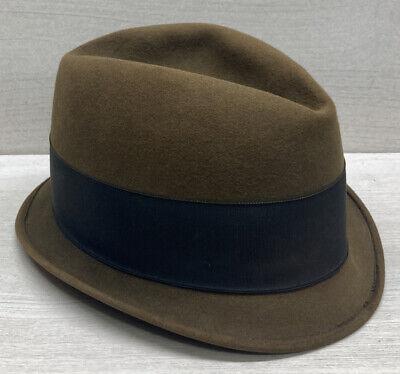 1950s Mens Hats | 50s Vintage Men's Hats Vintage 1940's/1950's Steven Stratton Fedora Hat Chicago Brown 7 1/8 $71.99 AT vintagedancer.com