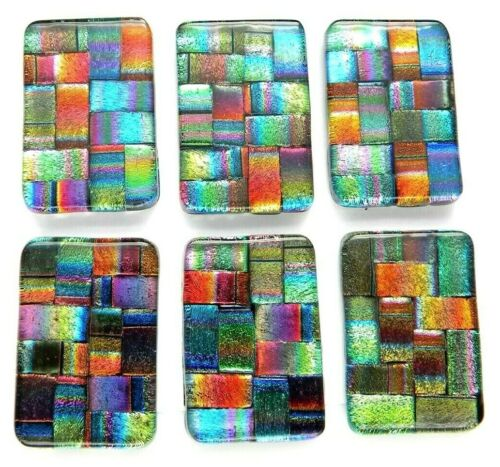 Lot of 6 pcs RECTANGLE DICHROIC FUSED GLASS pendant (D10) CABOCHON HAND MADE