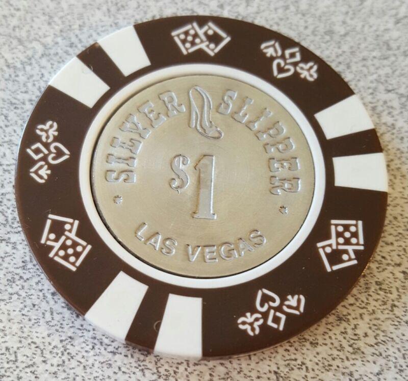 $1 Las Vegas Silver Slipper Coin Inlay Casino Chip - Spun
