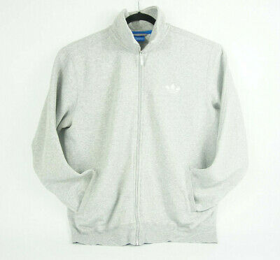 Mens 2XL - Adidas Full Zip Up Sweater Gray & White Long Sleeved Athletic Jacket