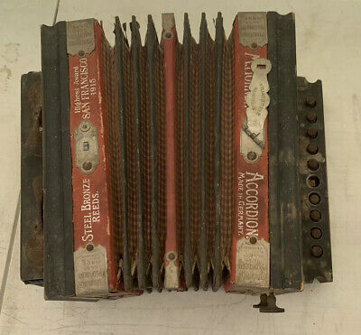 Antique Vintage M. Hohner ACCORDION San Francisco Best Made Germany 1915