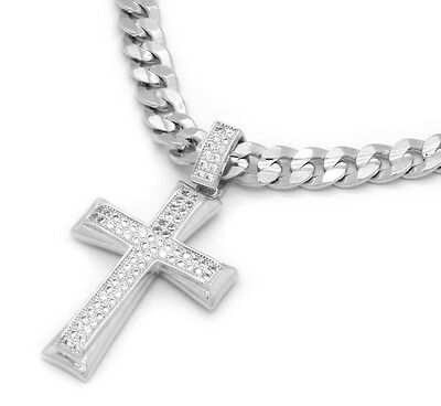 """Mens White Gold Plated Fully Cz 2Line Shade Cross Pendant 24"""" Cuban Chain"""