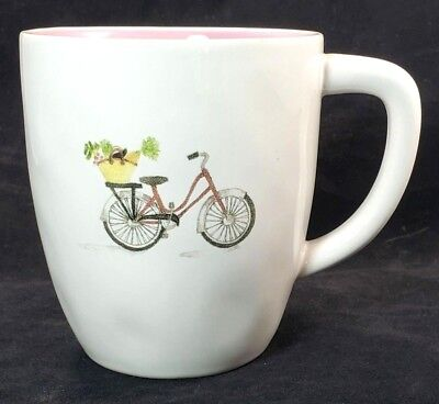 Rae Dunn Large Bicycle w/ Basket Artisan Collection Magenta White Coffee Tea Mug Basket Large Mug