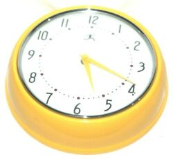 Infinity Instruments Bright Yellow Metal Retro Round Wall Clock