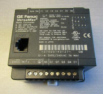 Ge Versamax Nano Plc Ic200nal211-bd 4 Dc Inputs 4 Relay Outputs 1 Analog Inp