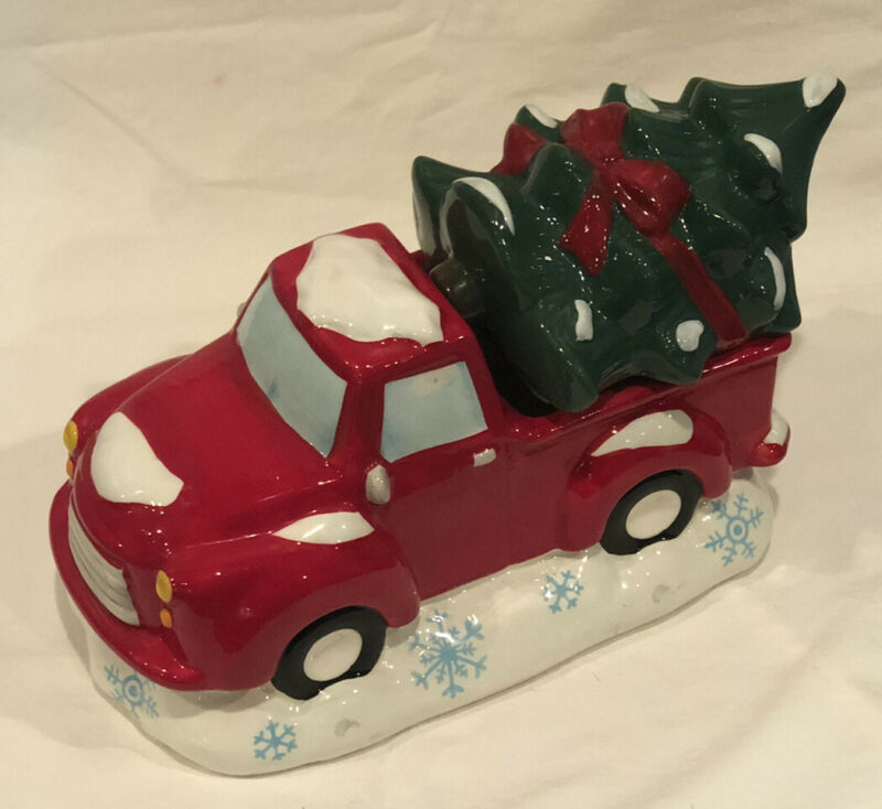 Red Pickup Truck Cookie Jar Carrying  A Christmas Tree Earthenware. VGC!