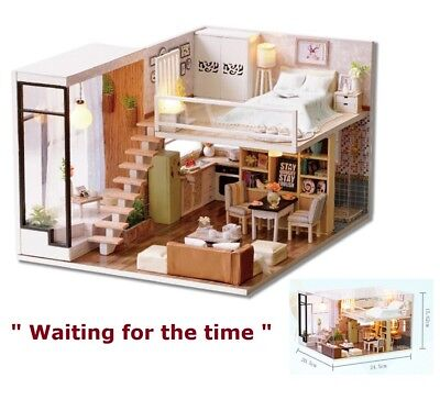 Used, Doll House Wooden Miniature DollHouse furniture DIY Kit LED & Music Box Gift Toy for sale  Chino