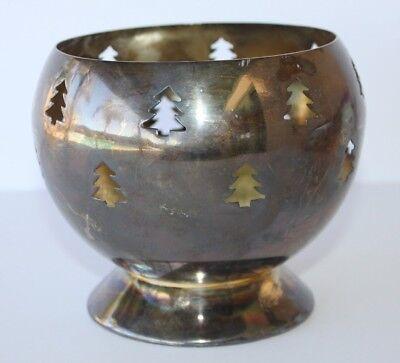 "Christmas Tree Silver Globe Candle Votive Holder 5"" Rustic Tea Light Cutout"