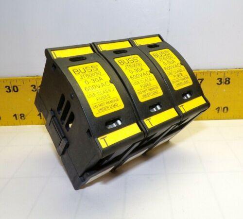 3) BUSS 0-30 AMP DIN RAIL MOUNT FUSE BLOCKS 600 VAC CLASS J  JT60030  LOT OF 3